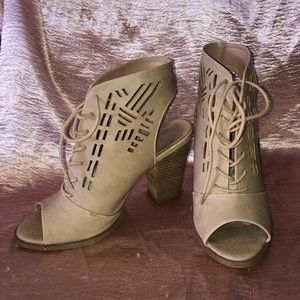 Restricted Nude Lace Up Booties- Sz 9